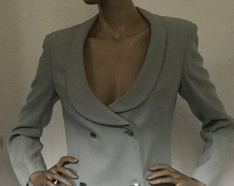 Rare Vintage 1980s State of Claude Montana Italian Made Double Breasted Jacket with Metal Buttons & Military Styling