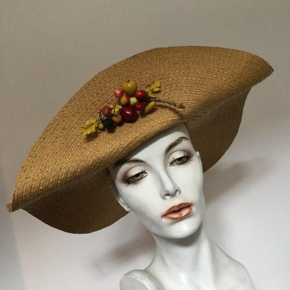 Vintage 1930s Wide Brimmed Fine Straw or Sisal Hat