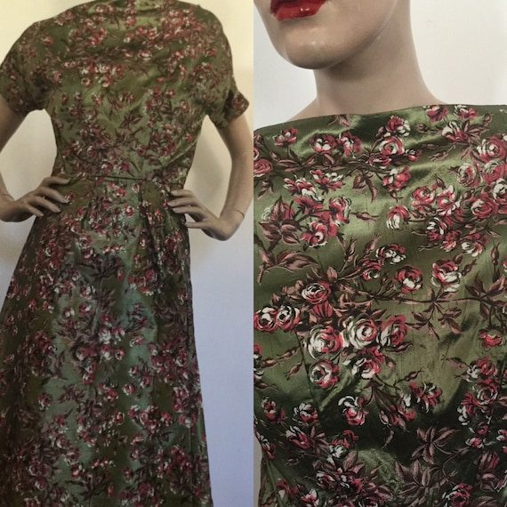 Vintage 1940s Bespoke Gown in Green, White & Pink