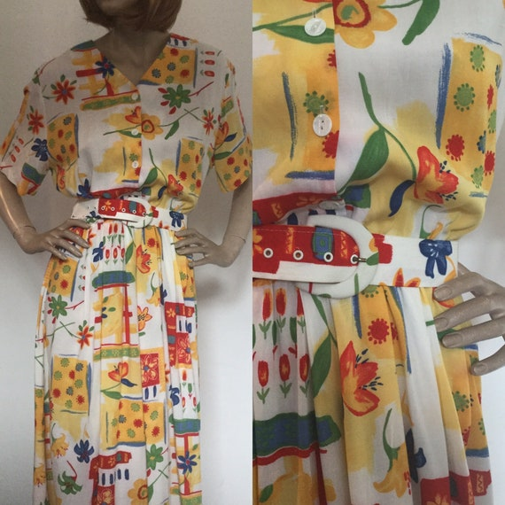 Vintage 1980s Bianco Print Dress, Buttoned, Belted