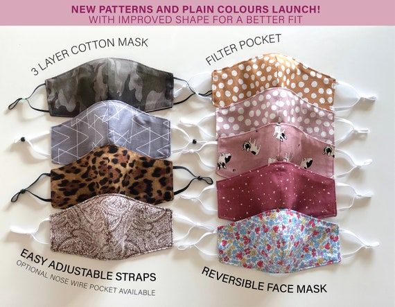 Adult, Kid Face Mask | Reusable 3 layer Cotton Mask  | Filter Pocket Mask | Reversible Face Mask| Headband with Mask | Made to order