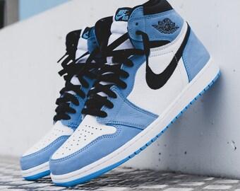 Nike Air Jordan 1 high University blue, Jordan blue sneaker, men's nike sneakers, custom