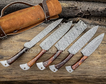 Handmade Damascus Kitchen Chef Knife Set With Forging Mark Blades And Leather Roll, Personalized Chef Knife ,Kitchen Knives