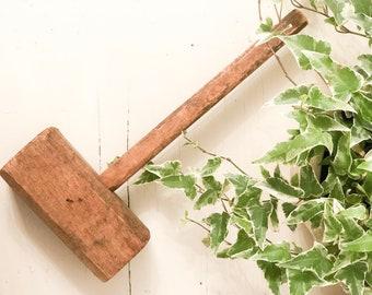 Antique Wood Tool - Primitive Mallet Handmade Hammer Rustic Patina Old Workshop