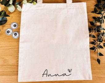 Fabric Bag —Name+Heart—Personalized, Handle Bag, Custom, Shopping, Jute Bag, Personalized
