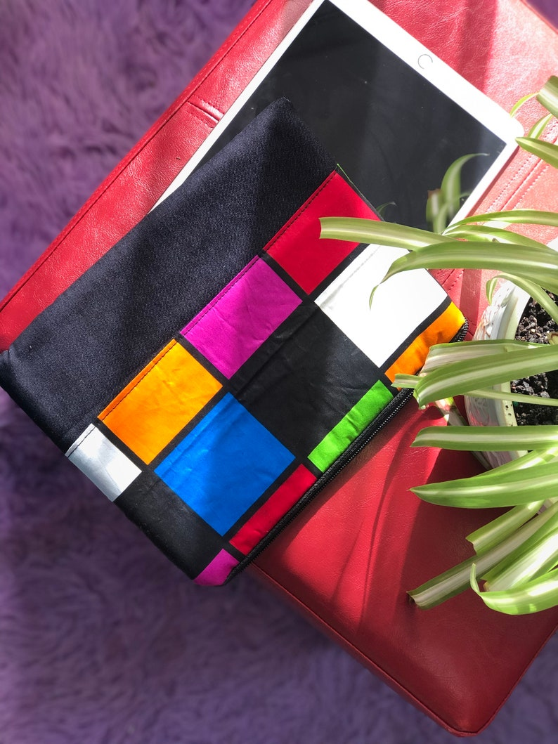 Handmade 10-inch Tablet Sleeve with African Ankara Print Surface Pro and Amazon Fire Tablets Lenovo Samsung For; iPad