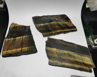 Tigers eye slabs used for cabochons