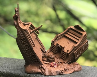 Pirate Ship Dice Tower - Dice Tower for Tabletop RPG and Board Games Like Dungeons and Dragons, Pathfinder, Call of Cthulhu, Mork Borg