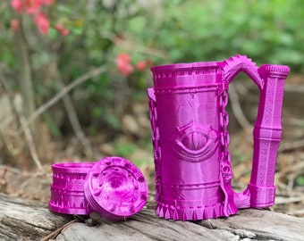 "Warlock Mug Can Holder - Warlock Themed ""Beer Stein"" Can Holder by Ars Moriendi (D&D, 5e, Pathfinder, RPG, Dice, Mork Borg)"