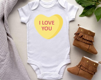 Vday baby Embroidered Conversation Hearts Baby Bodysuit Baby First Valentine Day Gift Custom Patches Embroidered Candy Heart Baby Onesie