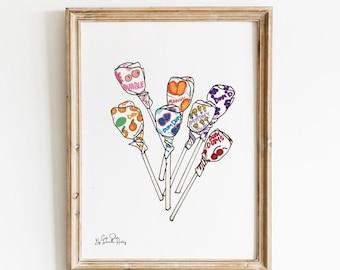Dum Dum Lollipop Wall Art Illustration, Candy Wall Print, Hand Illustrated