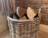 Premium Hessian Lined Rattan Log Basket