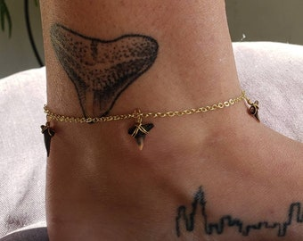 Tassel anklet,Boho Beach anklet Silver chain Anklet with black tooth charm