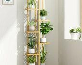 Wood Plant Stand , Outdoor Flower Shelf Stand,5 6 Tiers Ladder Shelf