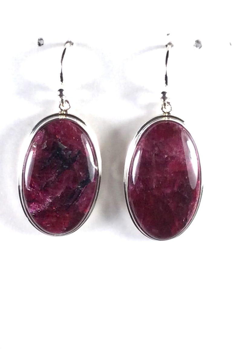 Eudialyte Earrings in Sterling Silver Stones size 15x25 mm