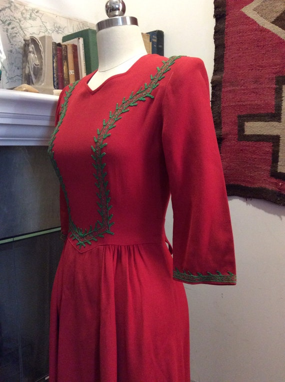 Cranberry red 1930s chain stitched dress.