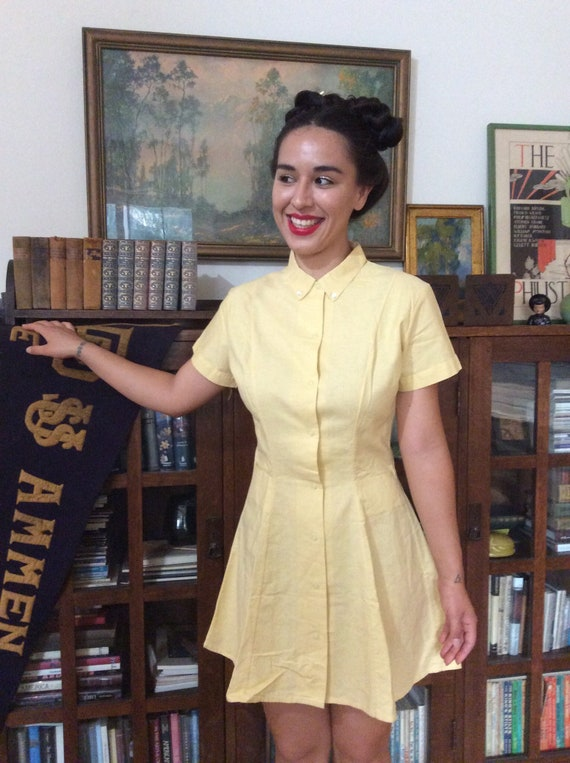 1940s sunny yellow playsuit.
