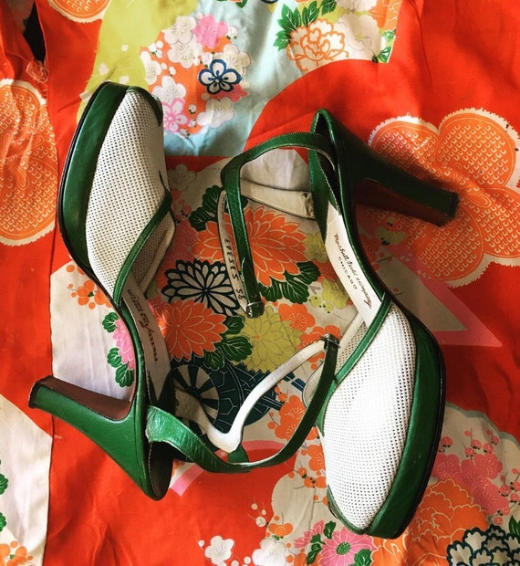 1940s green and ivory two tone platforms.