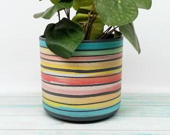 Eco friendly indoor Planter - 14 & 16 cm diameter, stripes of melange colours