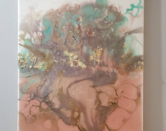 Colorful pastels resin painting