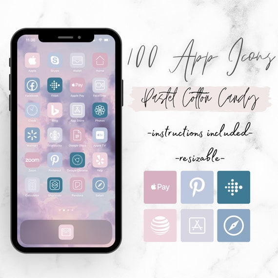 IOS14 Icon Pack 100 App Icons Aesthetic iPhone iOS14 App Icons Pastel Cotton Candy App Icons