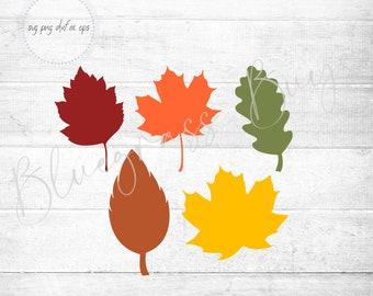 Fall Leaves SVG - Autumn Leaves SVG - Digital Download - Cricut - Silhouette Cut File