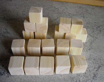 20 pieces wooden cubes 40 mm made of native untreated pine wood