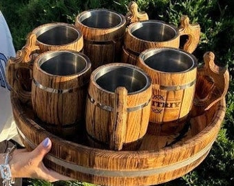 Set of 3, 4, 6 Wooden Beer Mugs with Oak Tray, Personalized Vintage Mug, Groomsmen Beer Cup, Viking Tankard, Beer Stein, Gift for Him, Dad