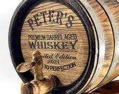 Personalized Oak Whiskey Barrel 1-2-3-5-10-15L, Whisky-Wine-Rum Barrel, Wooden Bourbon Barrel, Gift for Men Him Dad Husband, Wood Cask Keg