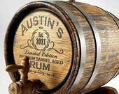 Rum Barrel 1-2-3-5-10-15L, Custom Whisky-Wine-Beer-Tequila Barrel, Personalized Bourbon Barrel, Gift for Him Dad, Husband Cask, Whiskey Keg