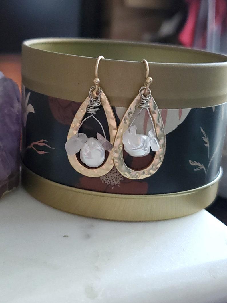 Rose quartz upcycled earrings