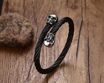Double Skull Gothic Bracelet - Stainless Steel   Masonic Wristband   Biker Bracelet   Gothic Jewelry