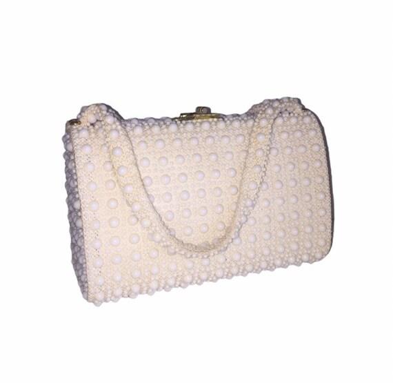 Vintage Off White Beaded Handbag