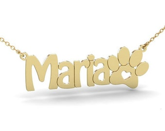 Dog Paw Print Gold Coloured Necklace IDEAL CHRISTMAS GIFT