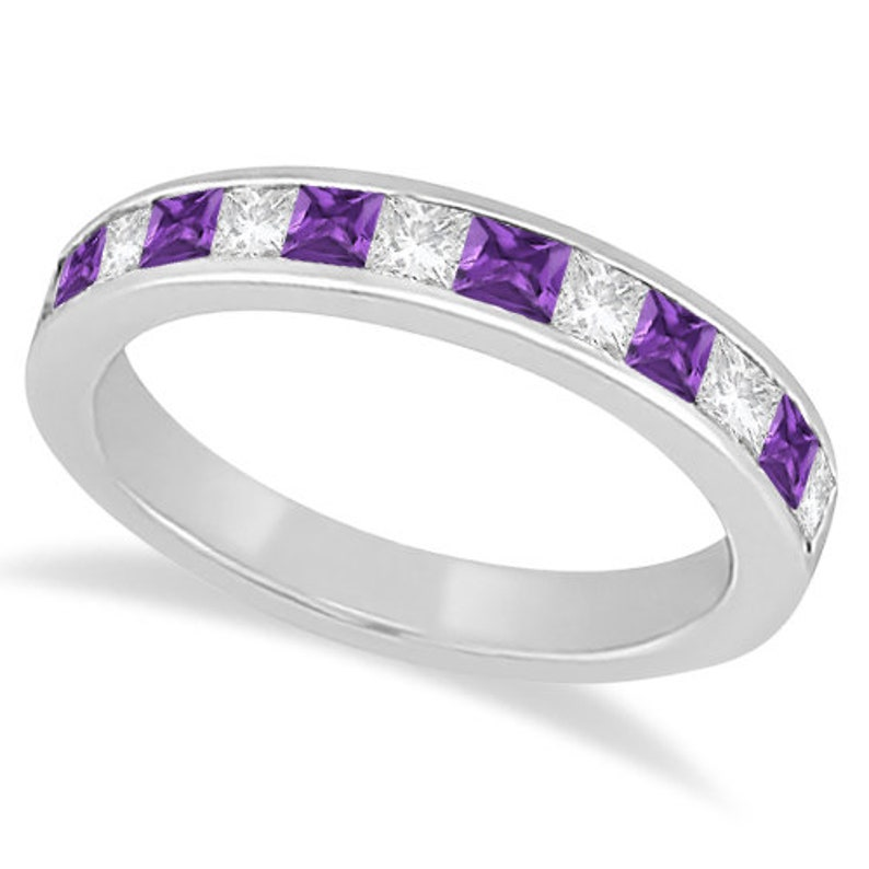Natural purple Amethyst /& Diamond channel setting Wedding sterling silver Ring birthstone ring women ring gemstone ring ring for mom