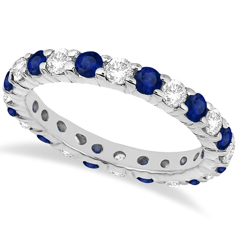 sapphire band promise ring band designer band birthstone band Natural Blue sapphire and Diamond eternity sterling silver Ring Band