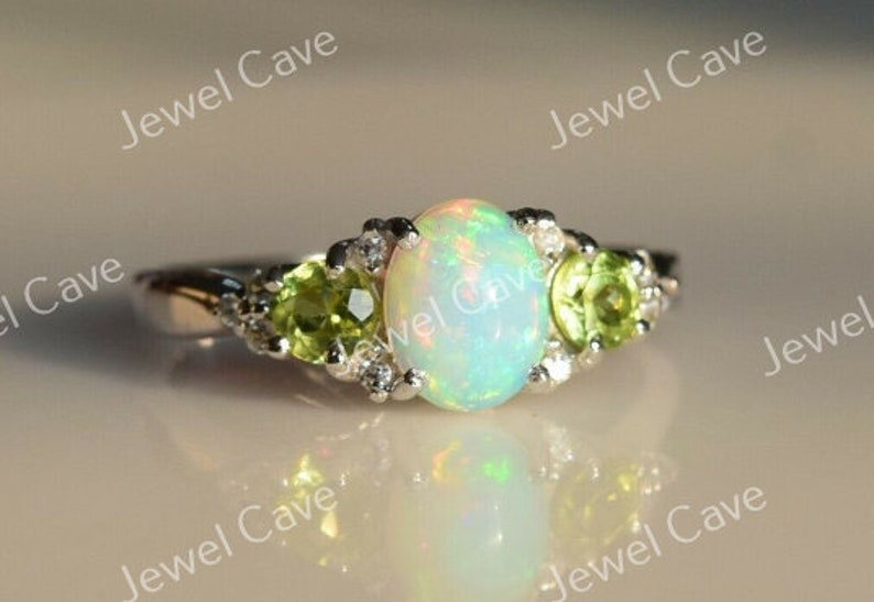 Diamond ring Ethiopian Opal And Peridot Engagement Ring For Women,925 Sterling Silver Jewelry Handmade ring christmas ring