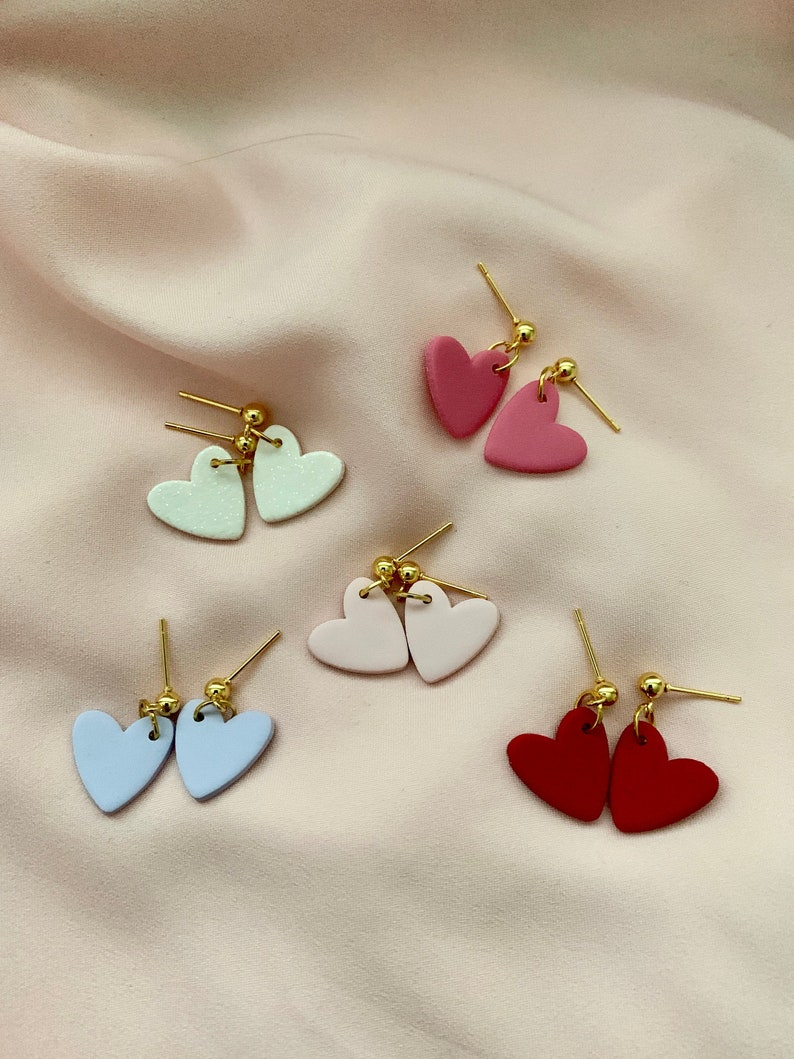 Valentine/'s Earrings Handcrafted Polymer Clay Earrings Heart Earrings Sweethearts Earrings Minimalist Gifts for Her