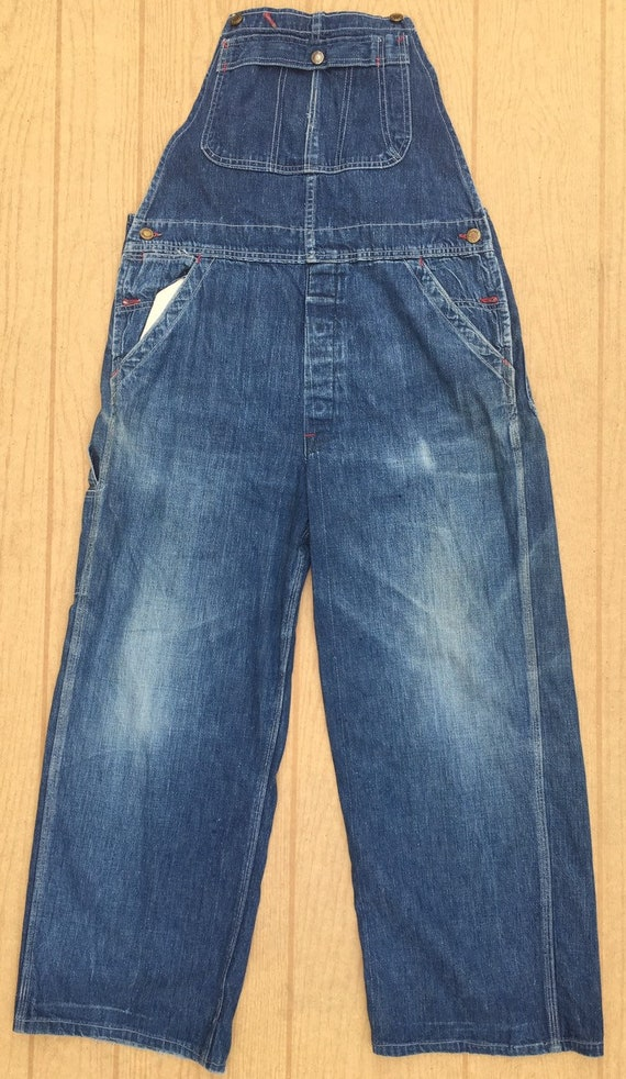 1930/40's índigo denim vintage work bib overalls s