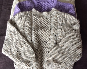 Hand knitted Aran cardigans and jumpers