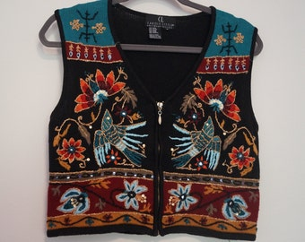 Vintage 90s Ethnic Vest  UNISEX  1990s  Embroidered Ethnic Vest  Waistcoat  Gypsy Hippie Festival Vintage Tribe  Gilet