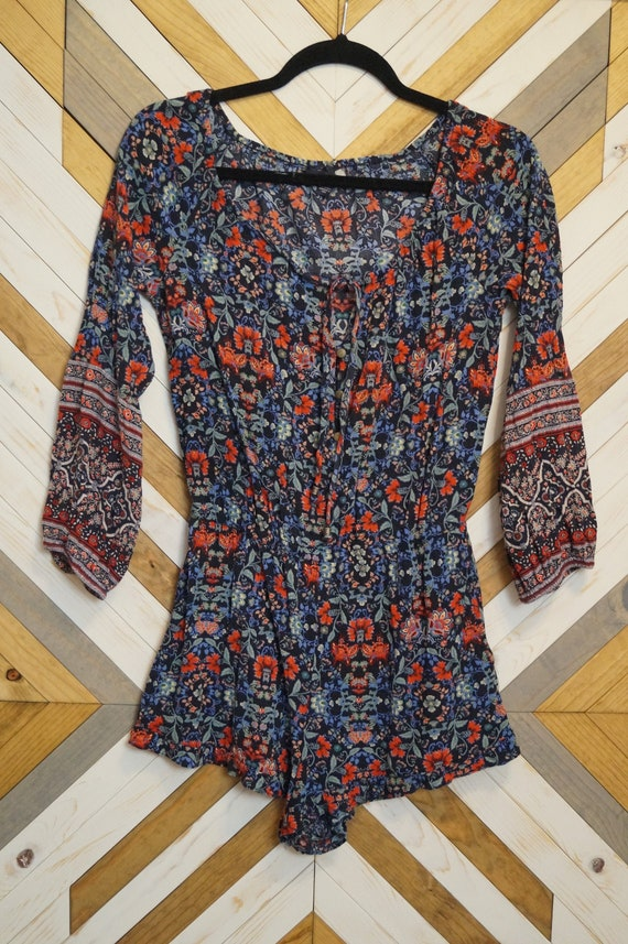 1970s Style Indian Print Hippie Jumpsuit Romper Si