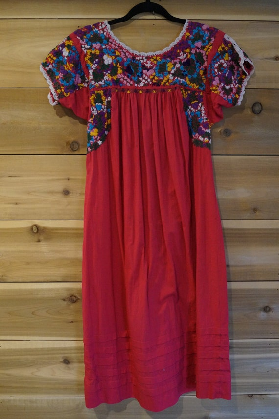 Vintage 1960s Colorful Mexican Embroidered Dress … - image 8