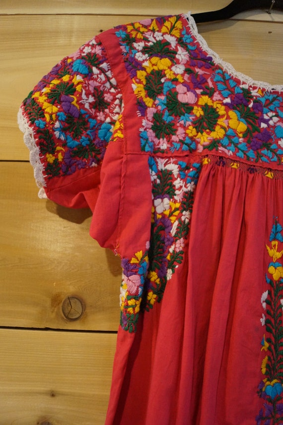 Vintage 1960s Colorful Mexican Embroidered Dress … - image 3