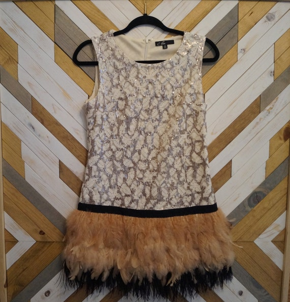 Sleeveless Feather Sequin Flapper Dress Size Small