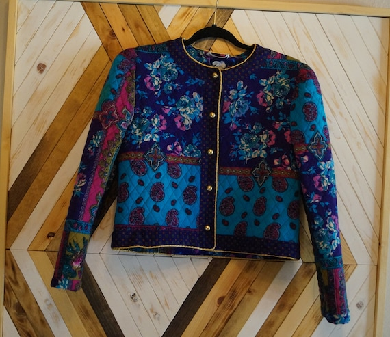 1980s Colorful Quilted Jacket, Bright Floral Quilt