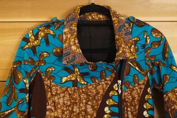 Dutch Wax Print Motorcycle Jacket XS, African Bir… - image 5