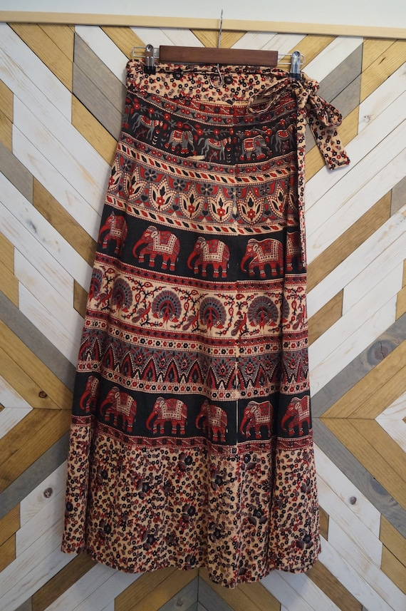 1970s Tribal Indian Print Hippie Maxi Wrap Skirt,