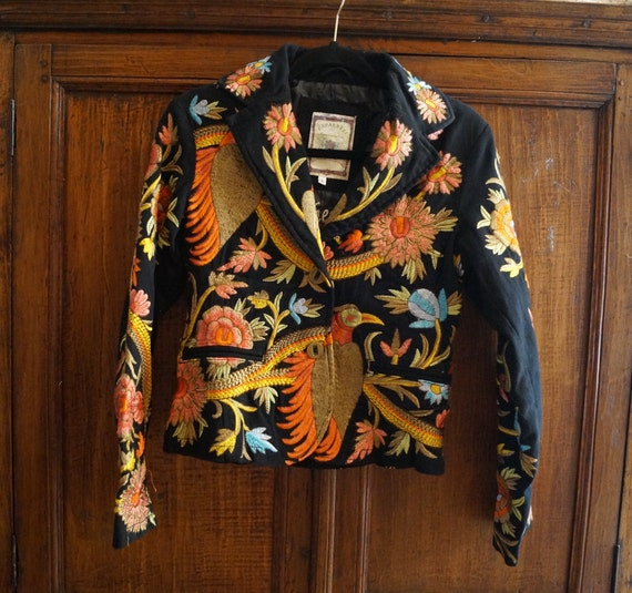Heavily Embroidered Vintage Bird Jacket Size Small