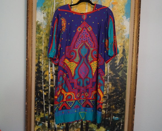 1980s Colorful Balloon Sleeve Dress, Vintage 1980s